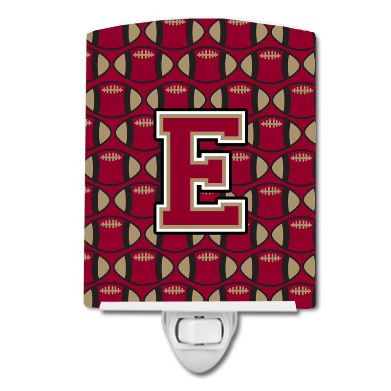 Buy this Letter E Football Garnet and Gold Ceramic Night Light CJ1078-ECNL