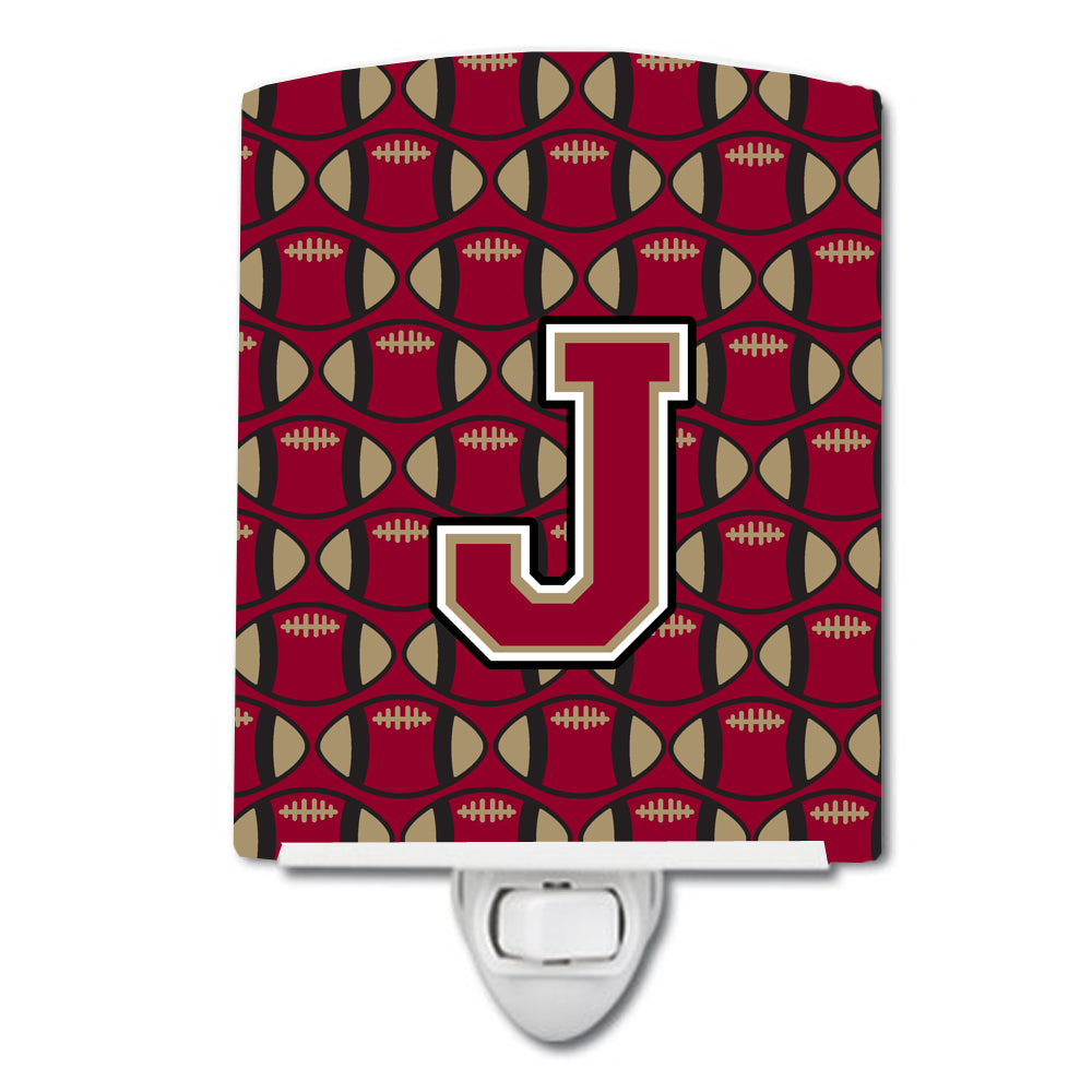 Letter J Football Garnet and Gold Ceramic Night Light CJ1078-JCNL by Caroline's Treasures