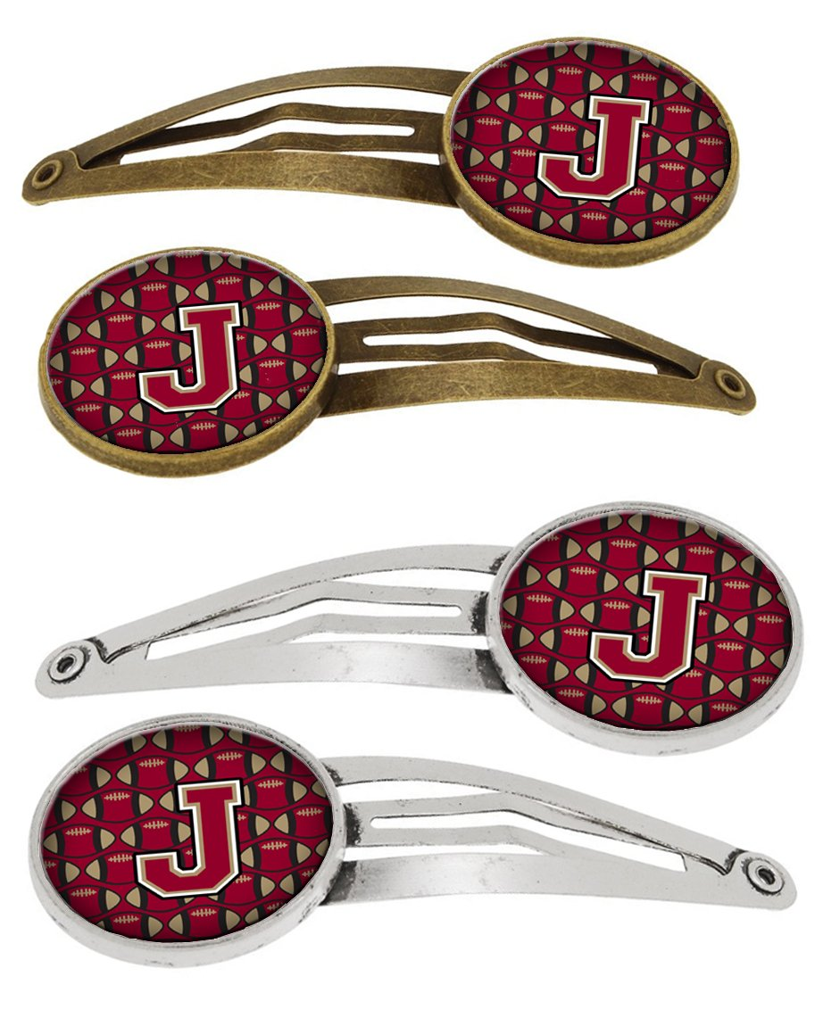 Letter J Football Garnet and Gold Set of 4 Barrettes Hair Clips CJ1078-JHCS4 by Caroline's Treasures