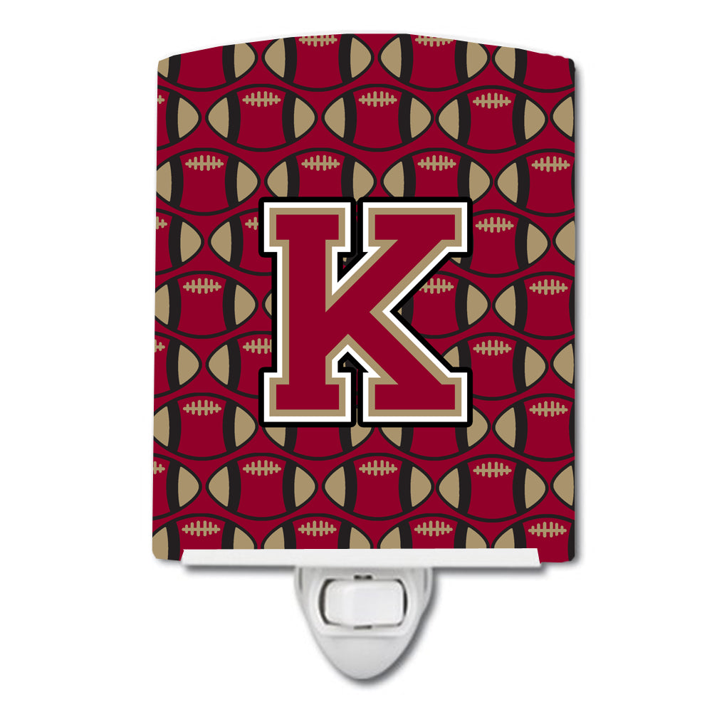 Buy this Letter K Football Garnet and Gold Ceramic Night Light CJ1078-KCNL