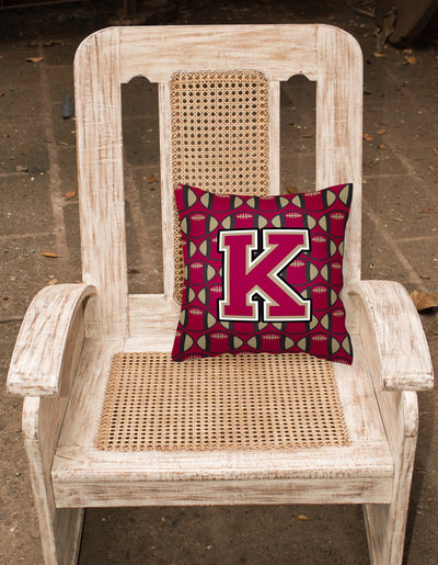Letter K Football Garnet and Gold Fabric Decorative Pillow CJ1078-KPW1414