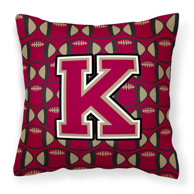 Buy this Letter K Football Garnet and Gold Fabric Decorative Pillow CJ1078-KPW1414
