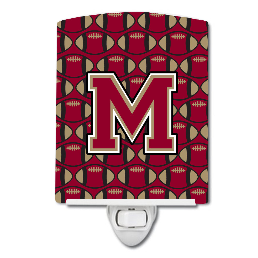 Letter M Football Garnet and Gold Ceramic Night Light CJ1078-MCNL by Caroline's Treasures