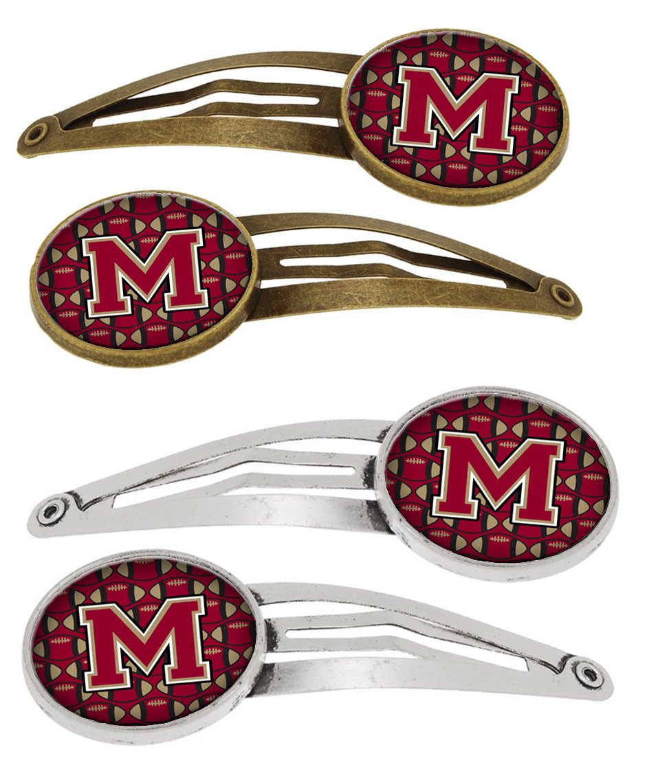 Buy this Letter M Football Garnet and Gold Set of 4 Barrettes Hair Clips CJ1078-MHCS4