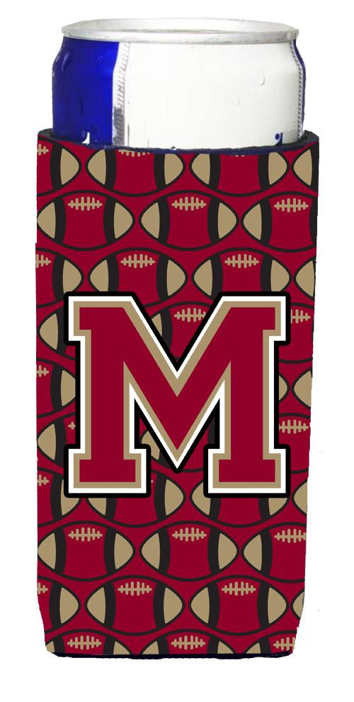 Letter M Football Garnet and Gold Ultra Beverage Insulators for slim cans CJ1078-MMUK by Caroline's Treasures