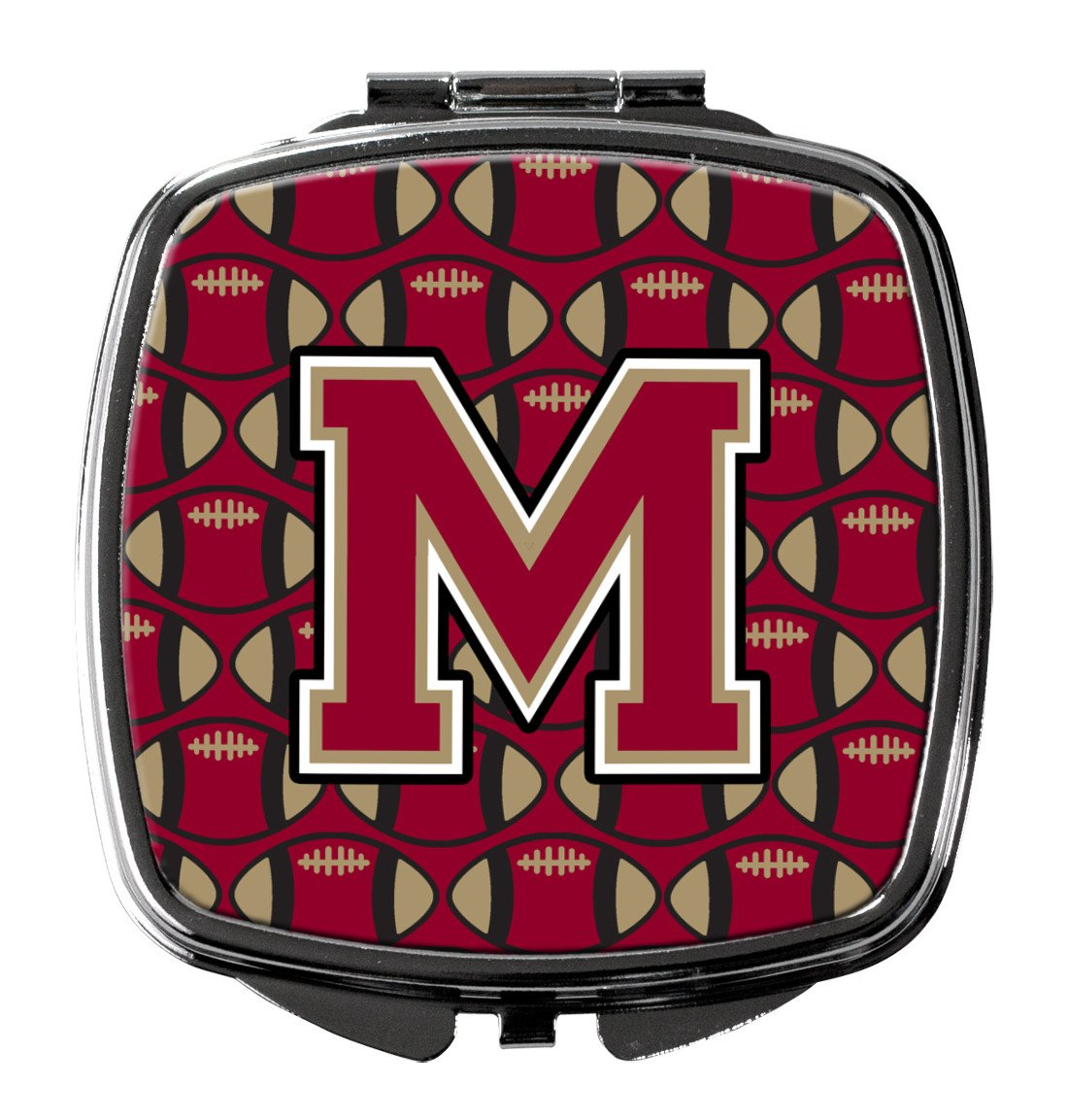 Letter M Football Garnet and Gold Compact Mirror CJ1078-MSCM by Caroline's Treasures