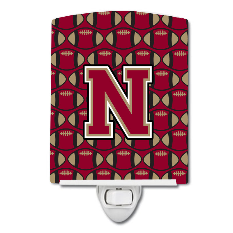 Buy this Letter N Football Garnet and Gold Ceramic Night Light CJ1078-NCNL