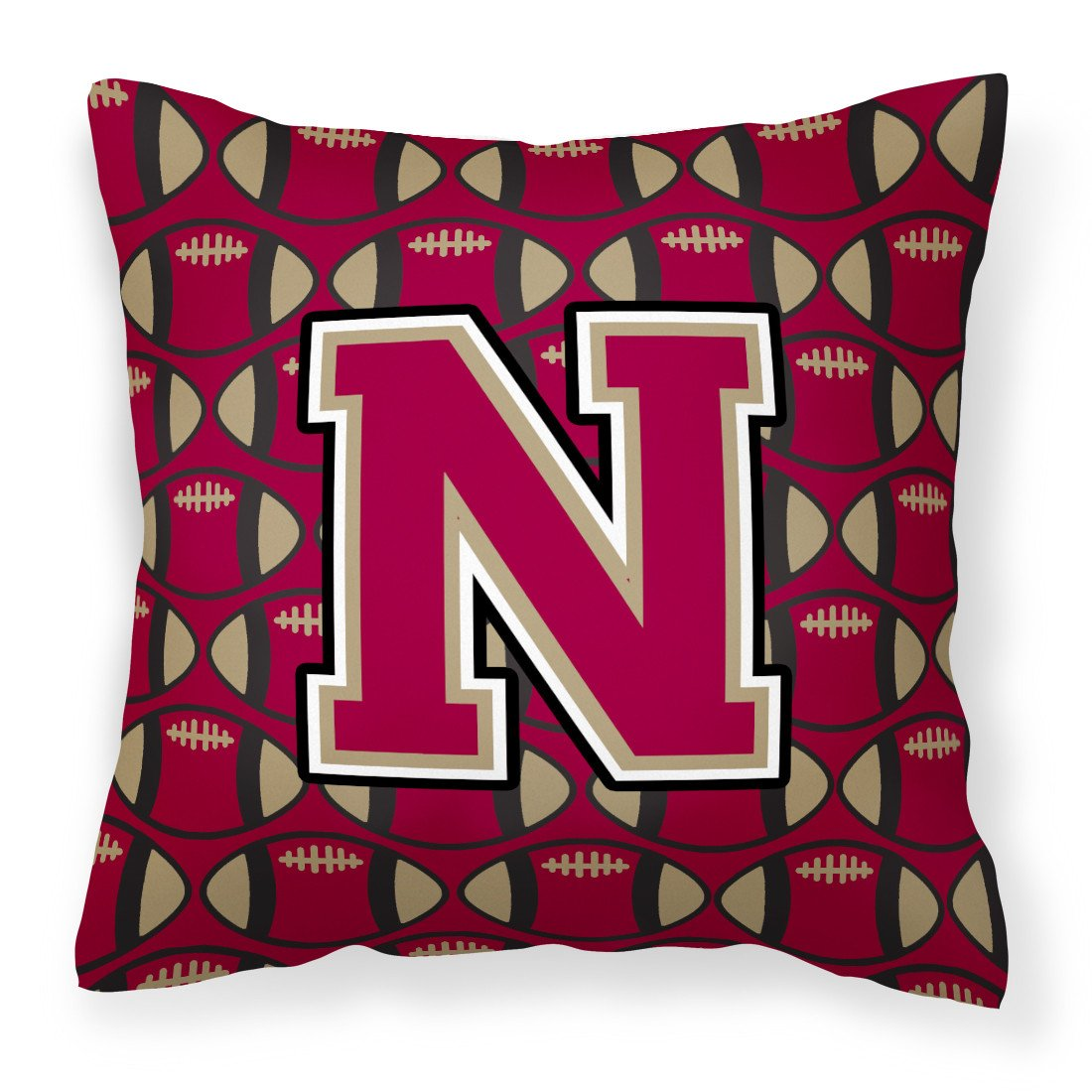 Letter N Football Garnet and Gold Fabric Decorative Pillow CJ1078-NPW1414 by Caroline's Treasures
