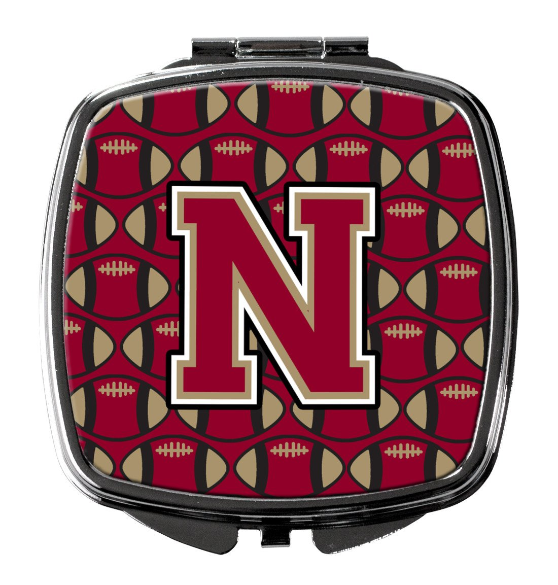 Letter N Football Garnet and Gold Compact Mirror CJ1078-NSCM by Caroline's Treasures