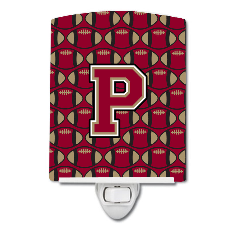 Buy this Letter P Football Garnet and Gold Ceramic Night Light CJ1078-PCNL