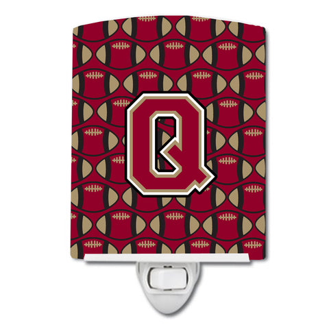 Buy this Letter Q Football Garnet and Gold Ceramic Night Light CJ1078-QCNL