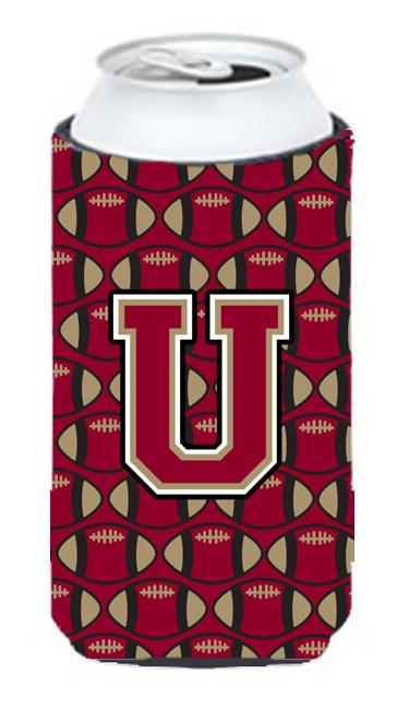 Buy this Letter U Football Garnet and Gold Tall Boy Beverage Insulator Hugger CJ1078-UTBC