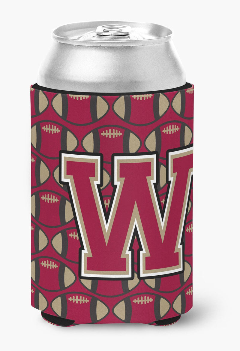 Buy this Letter W Football Garnet and Gold Can or Bottle Hugger CJ1078-WCC
