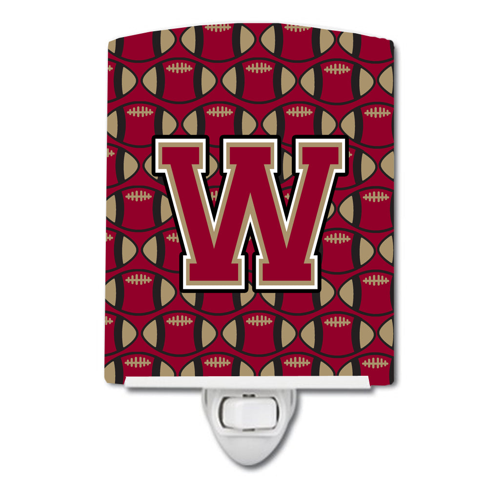 Letter W Football Garnet and Gold Ceramic Night Light CJ1078-WCNL by Caroline's Treasures