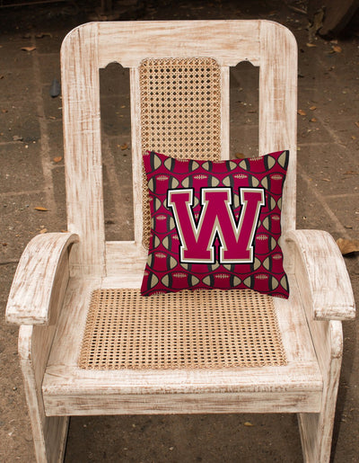 Letter W Football Garnet and Gold Fabric Decorative Pillow CJ1078-WPW1414