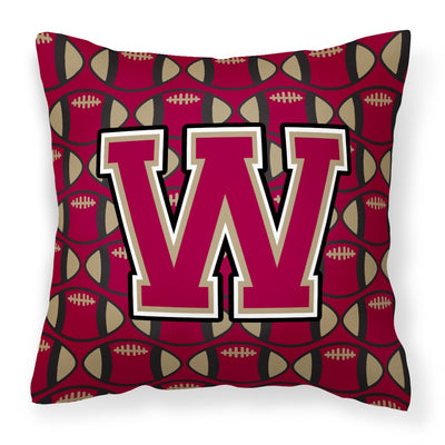 Buy this Letter W Football Garnet and Gold Fabric Decorative Pillow CJ1078-WPW1414