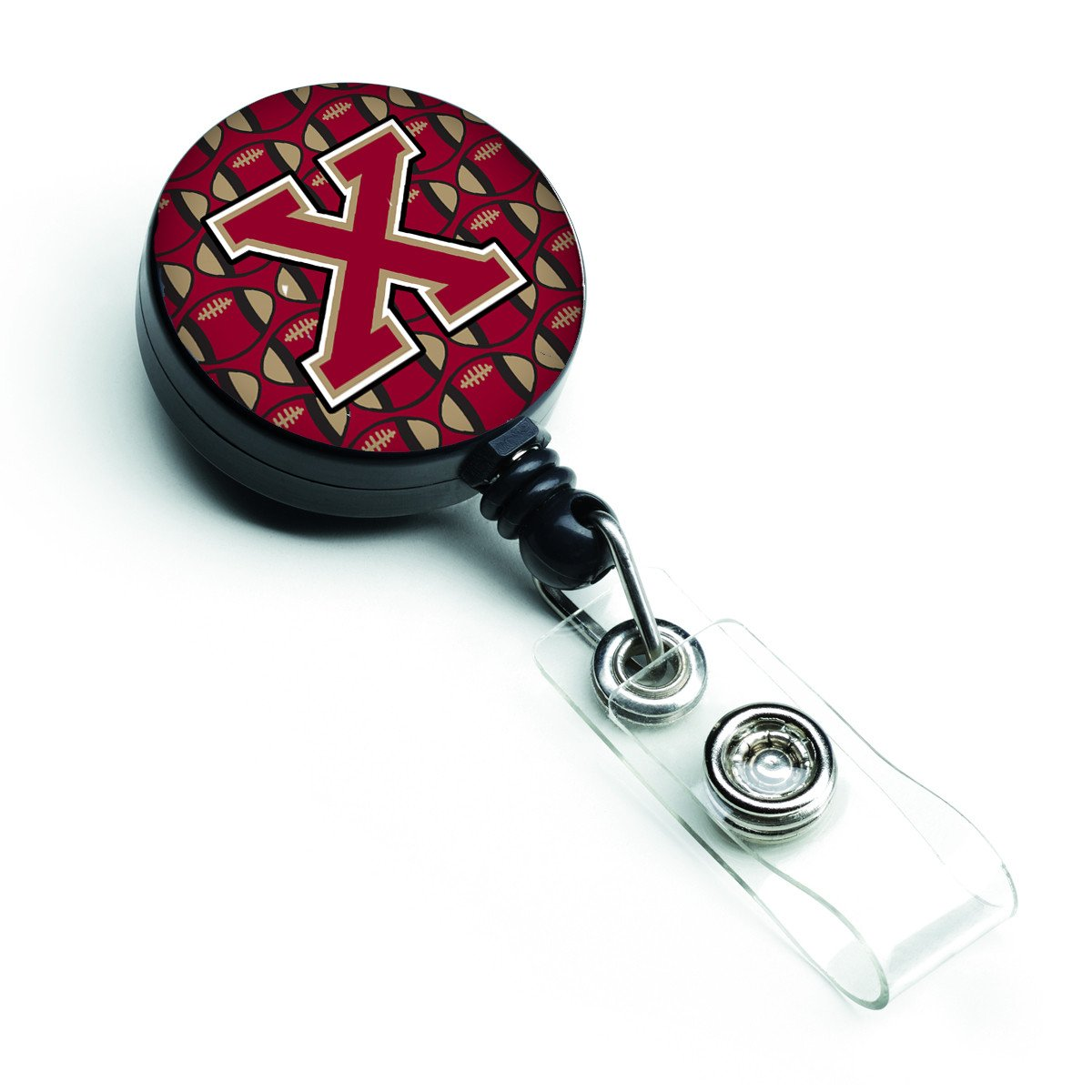 Letter X Football Garnet and Gold Retractable Badge Reel CJ1078-XBR by Caroline's Treasures