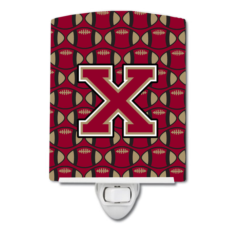Buy this Letter X Football Garnet and Gold Ceramic Night Light CJ1078-XCNL