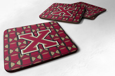 Buy this Letter X Football Garnet and Gold Foam Coaster Set of 4 CJ1078-XFC