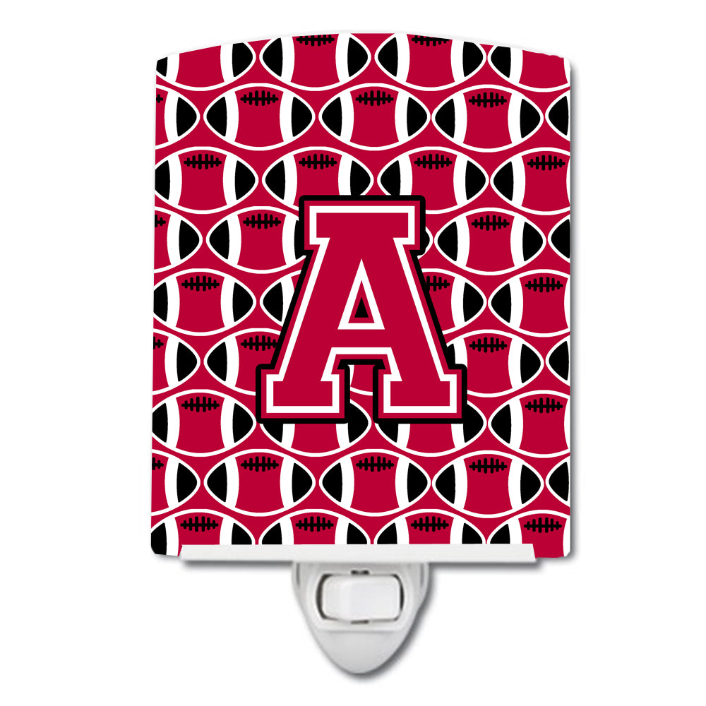 Buy this Letter A Football Crimson and White Ceramic Night Light CJ1079-ACNL