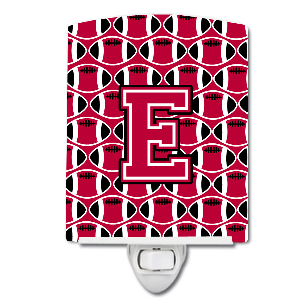 Buy this Letter E Football Crimson and White Ceramic Night Light CJ1079-ECNL