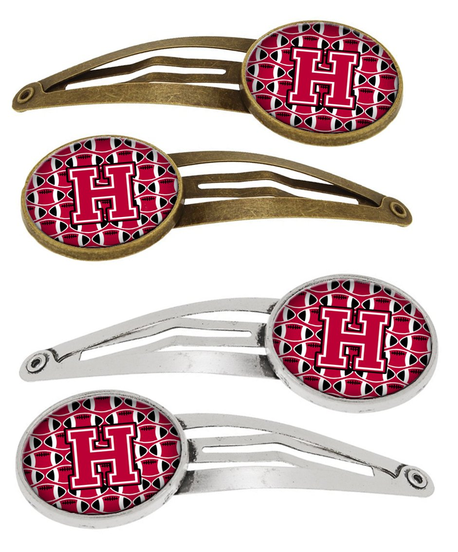 Letter H Football Crimson and White Set of 4 Barrettes Hair Clips CJ1079-HHCS4 by Caroline's Treasures