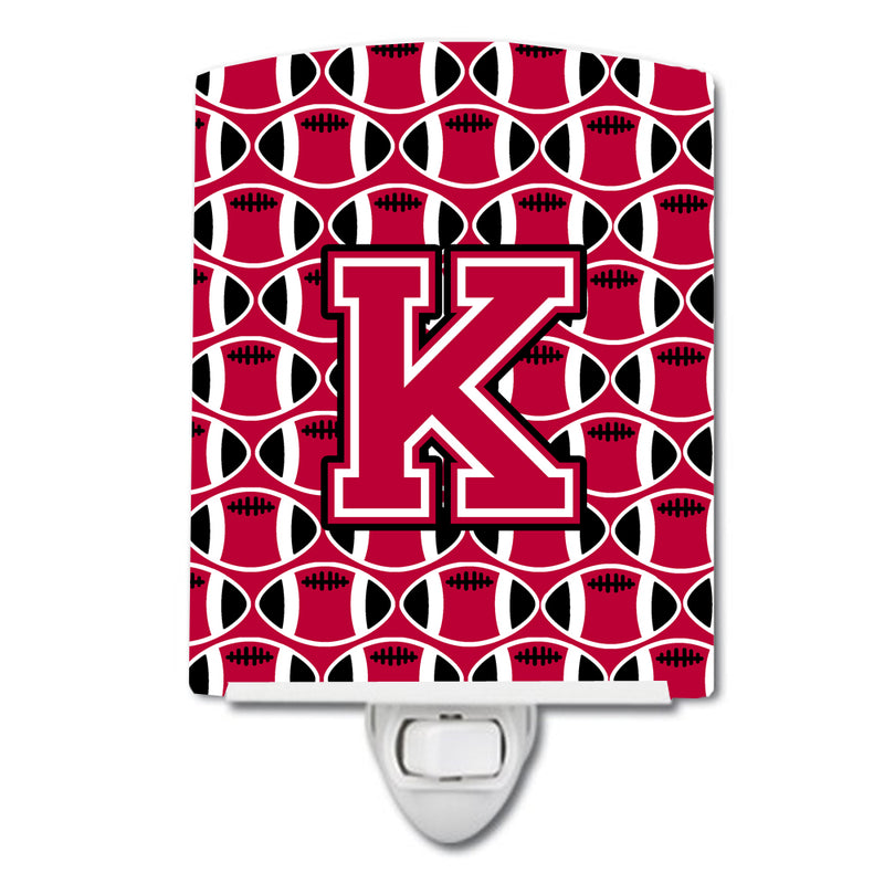 Buy this Letter K Football Crimson and White Ceramic Night Light CJ1079-KCNL