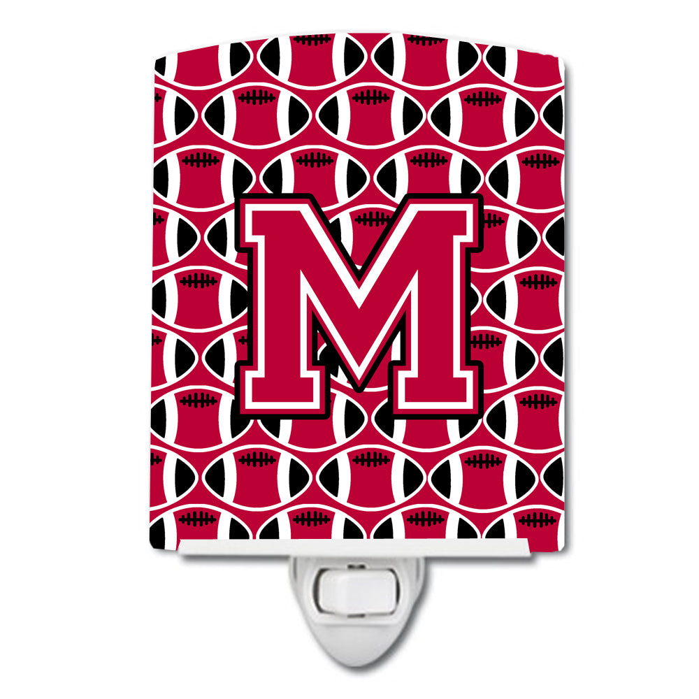 Letter M Football Crimson and White Ceramic Night Light CJ1079-MCNL by Caroline's Treasures