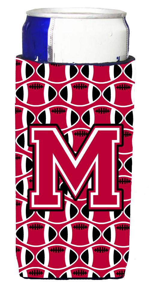 Letter M Football Crimson and White Ultra Beverage Insulators for slim cans CJ1079-MMUK by Caroline's Treasures