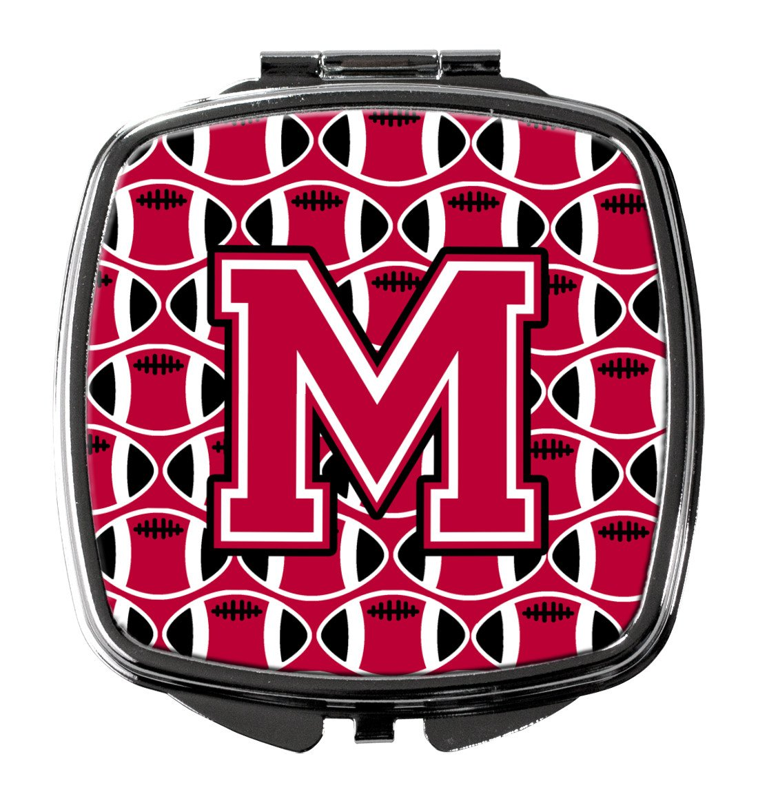 Letter M Football Crimson and White Compact Mirror CJ1079-MSCM by Caroline's Treasures
