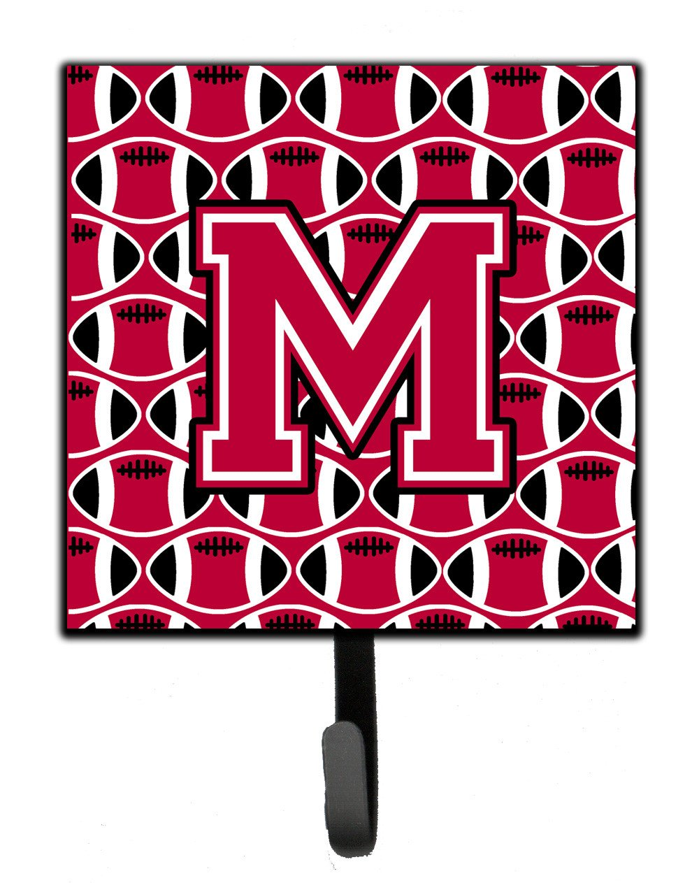 Letter M Football Crimson and White Leash or Key Holder CJ1079-MSH4 by Caroline's Treasures