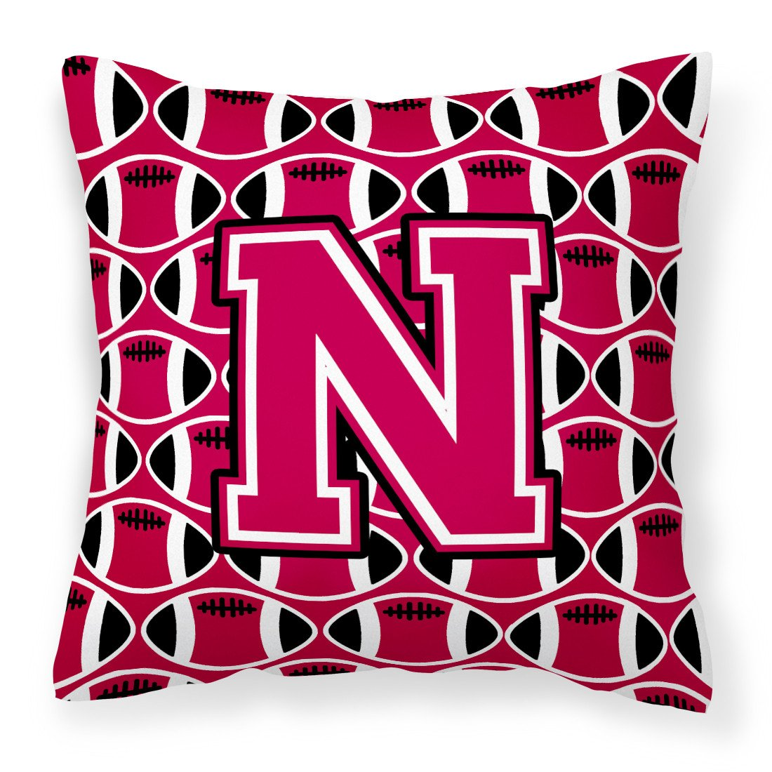 Letter N Football Crimson and White Fabric Decorative Pillow CJ1079-NPW1414 by Caroline's Treasures