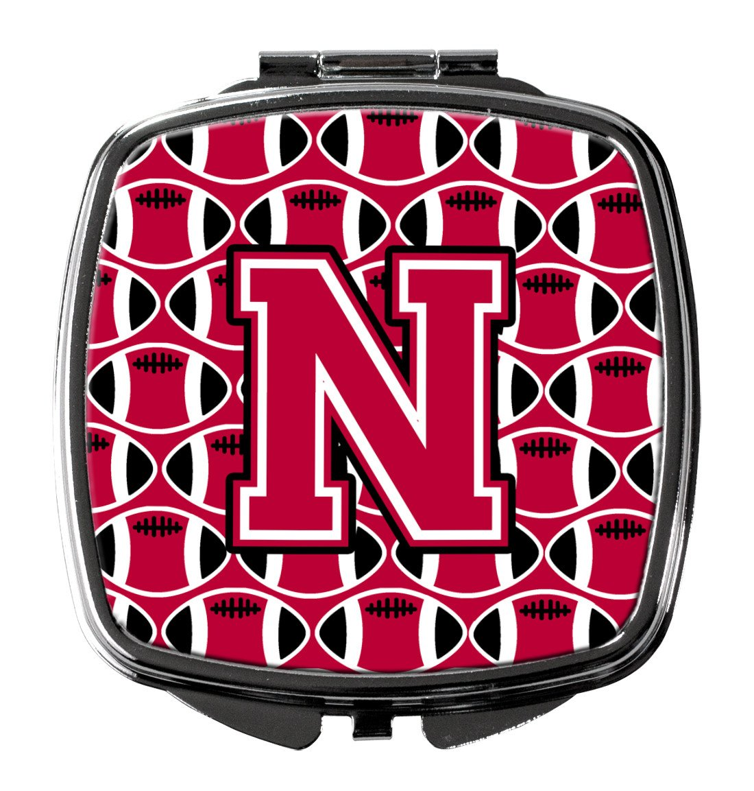 Letter N Football Crimson and White Compact Mirror CJ1079-NSCM by Caroline's Treasures
