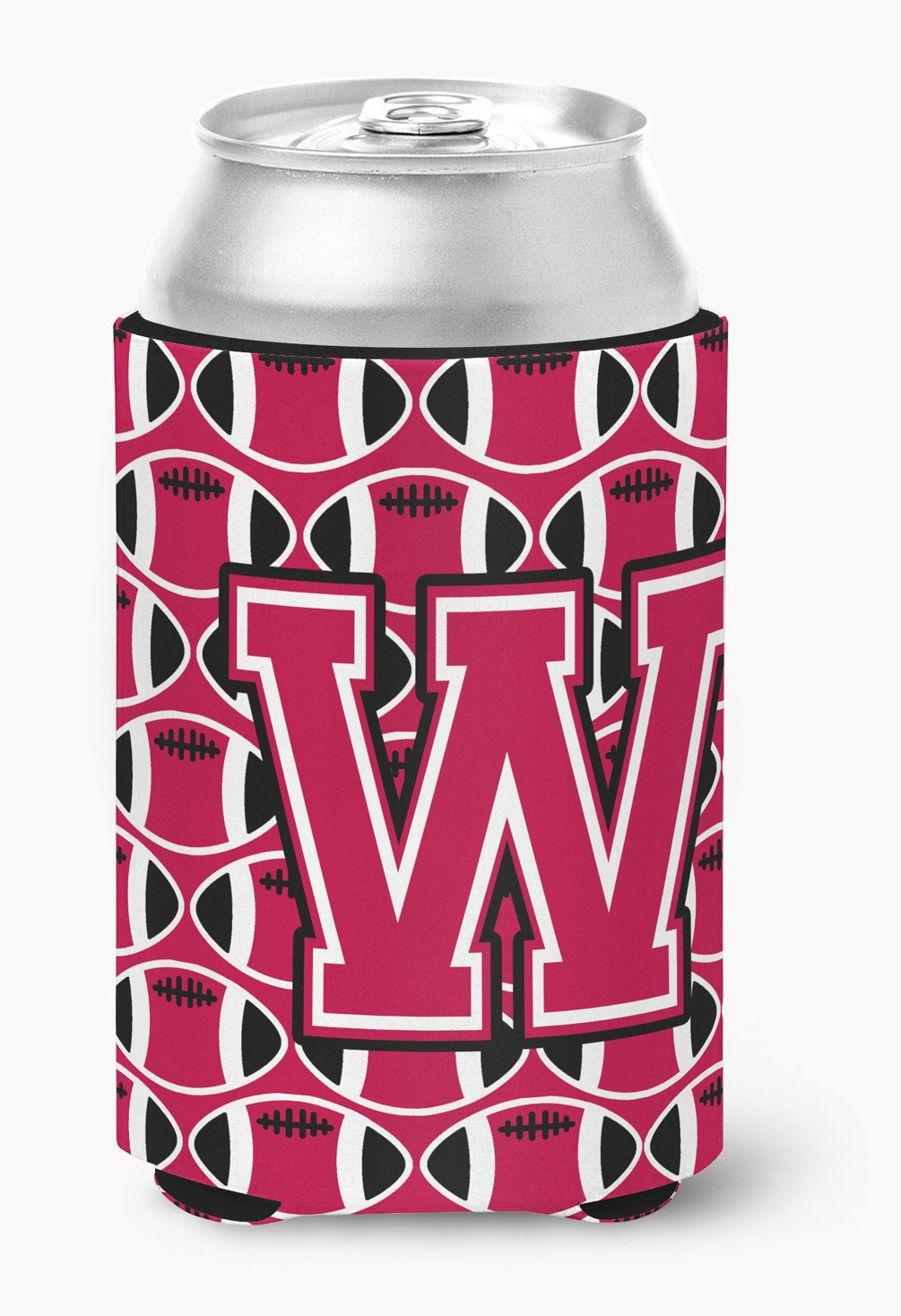 Buy this Letter W Football Crimson and White Can or Bottle Hugger CJ1079-WCC