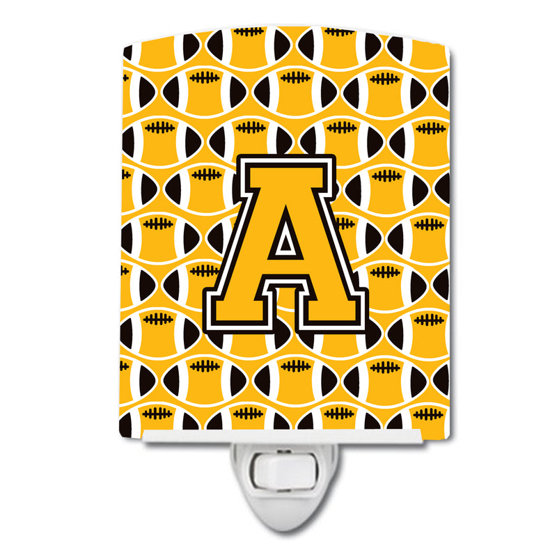 Buy this Letter A Football Black, Old Gold and White Ceramic Night Light CJ1080-ACNL