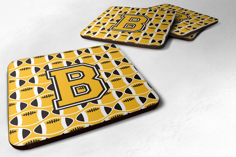 Buy this Letter B Football Black, Old Gold and White Foam Coaster Set of 4 CJ1080-BFC
