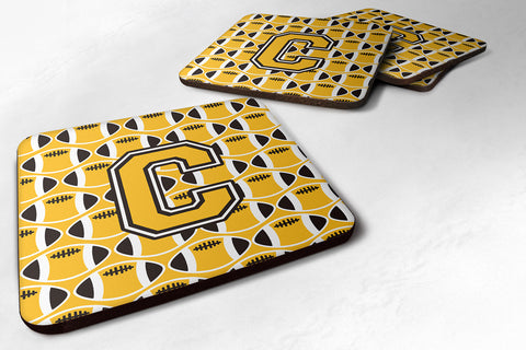 Buy this Letter C Football Black, Old Gold and White Foam Coaster Set of 4 CJ1080-CFC