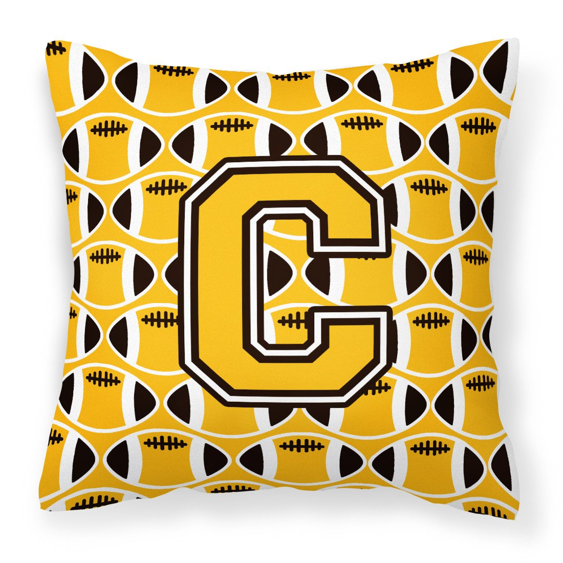 Letter C Football Black, Old Gold and White Fabric Decorative Pillow CJ1080-CPW1414 by Caroline's Treasures