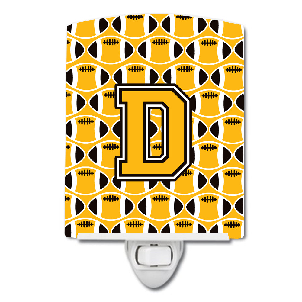Letter D Football Black, Old Gold and White Ceramic Night Light CJ1080-DCNL by Caroline's Treasures