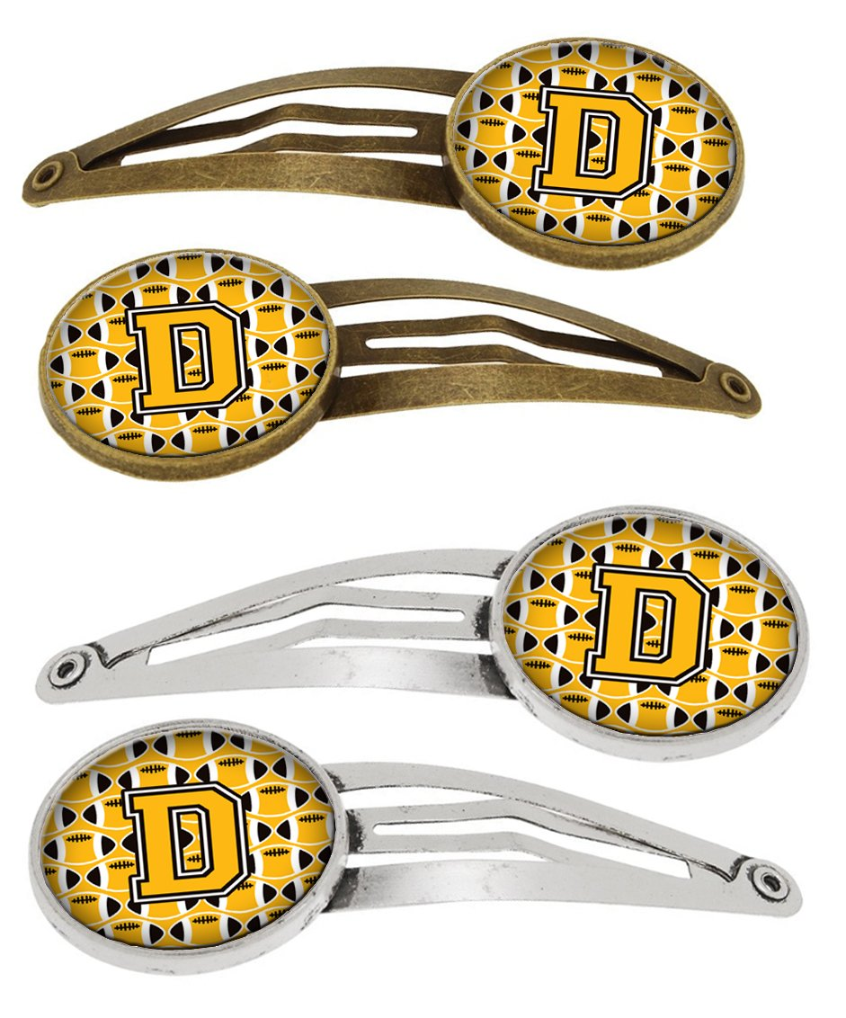 Letter D Football Black, Old Gold and White Set of 4 Barrettes Hair Clips by Caroline's Treasures