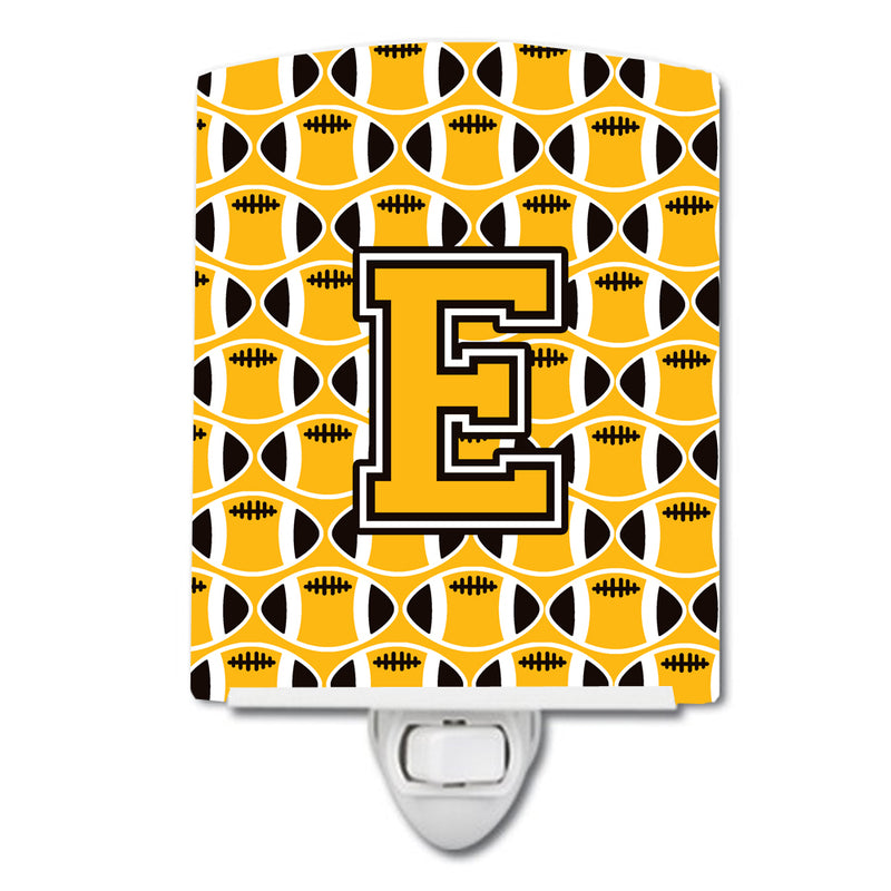 Buy this Letter E Football Black, Old Gold and White Ceramic Night Light CJ1080-ECNL