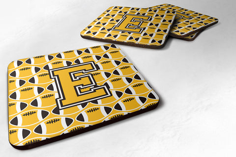 Buy this Letter E Football Black, Old Gold and White Foam Coaster Set of 4 CJ1080-EFC