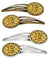 Buy this Letter E Football Black, Old Gold and White Set of 4 Barrettes Hair Clips CJ1080-EHCS4