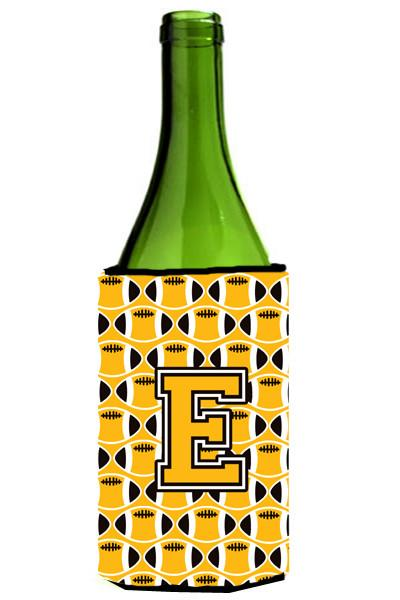 Letter E Football Black, Old Gold and White Wine Bottle Beverage Insulator Hugger CJ1080-ELITERK by Caroline's Treasures