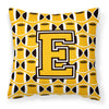 Letter E Football Black, Old Gold and White Fabric Decorative Pillow CJ1080-EPW1414 by Caroline's Treasures