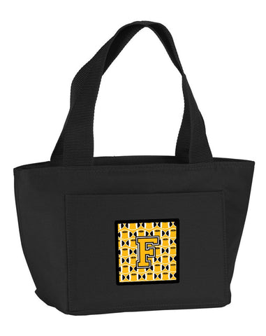 Buy this Letter F Football Black, Old Gold and White Lunch Bag CJ1080-FBK-8808