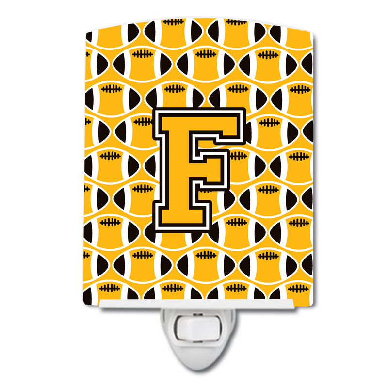 Buy this Letter F Football Black, Old Gold and White Ceramic Night Light CJ1080-FCNL