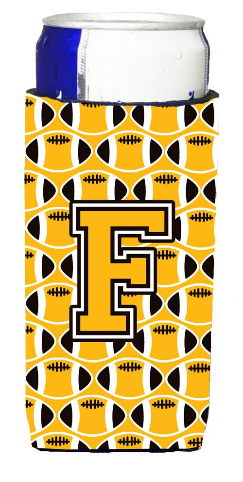 Letter F Football Black, Old Gold and White Ultra Beverage Insulators for slim cans CJ1080-FMUK by Caroline's Treasures
