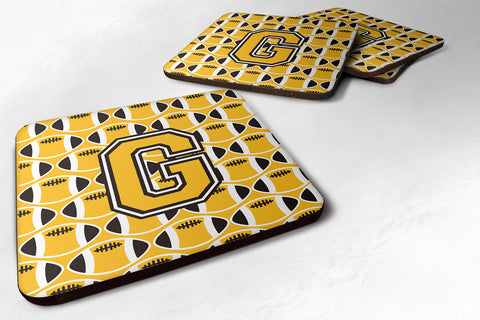 Buy this Letter G Football Black, Old Gold and White Foam Coaster Set of 4 CJ1080-GFC