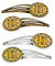 "Buy this ""Letter H Football Black, Old Gold and White Set of 4 Barrettes Hair Clips"""